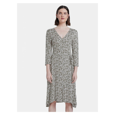 Khaki dámske kvetované šaty Tom Tailor