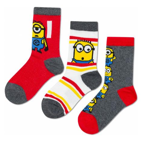 Ponožky detské Minions 3 páry Minions red/grey Character