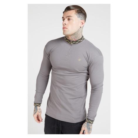 Pánske šedé tričko s dlhým rukávom Sik Silk Chain Rib Collar Cuff SikSilk