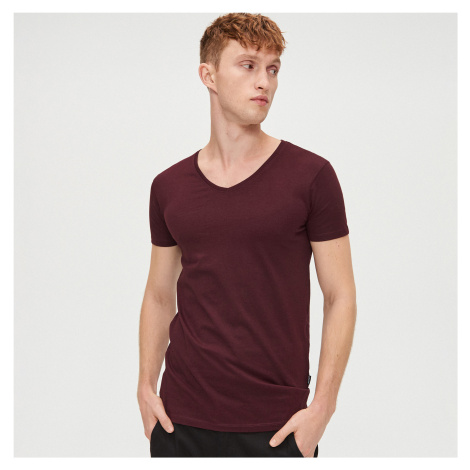 Cropp - Basic hladké tričko - Bordový