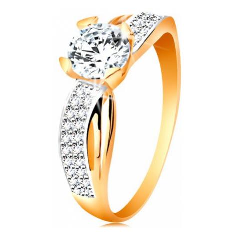 Prsteň zo 14K zlata - okrúhly zirkón čírej farby, trblietavá línia, úzke výrezy - Veľkosť: 60 mm