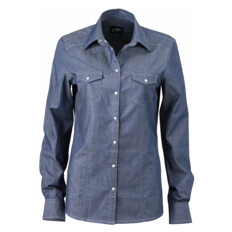 James & Nicholson Dámska džínsová košeľa JN628