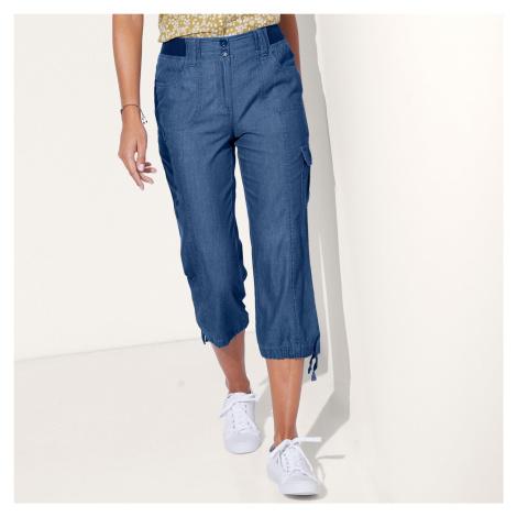 Blancheporte 3/4 denimové nohavice s úpletový pásom denim