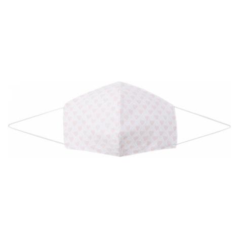 Silk & Pearls Látkové rúško  biela / ružová