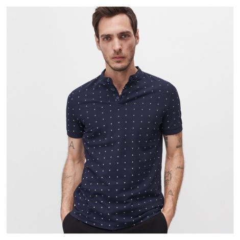 Reserved - Tričko polo slim fit z organickej bavlny - Tmavomodrá