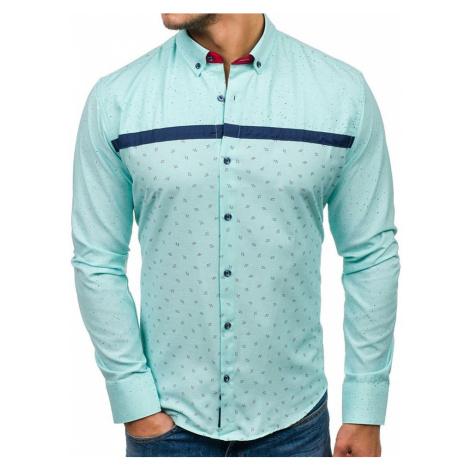 Mätová pánska vzorovaná košeľa s dlhými rukávmi BOLF 6903
