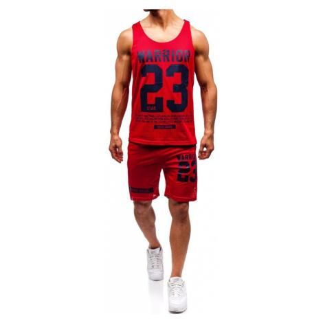 Červený pánsky komplet: tričko + kraťasy  BOLF 100778 J.STYLE