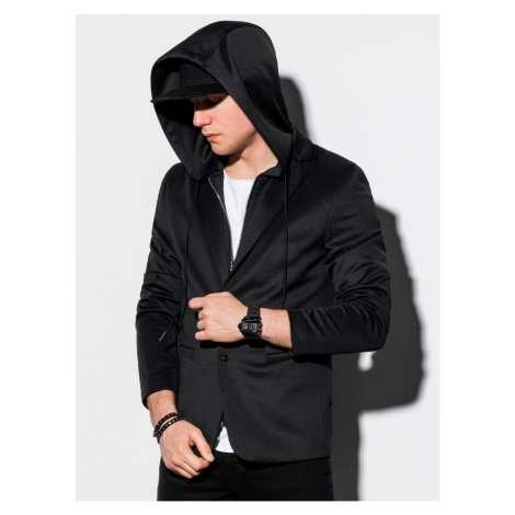 Ombre Clothing Men's casual hooded blazer jacket M156 Black