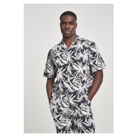 Pánska košeľa s krátkym rukávom URBAN CLASSICS Pattern Resort Shirt palm/white