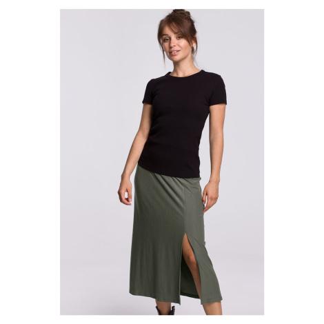 Olivovo zelená midi sukňa B169