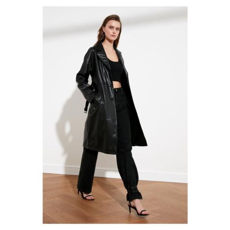 Trendyol Black BeltEd Suni Leather Long Trenchkot