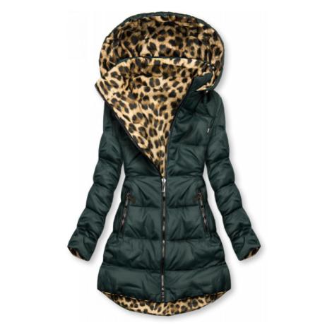 Obojstranná bunda zelená/leopardí vzor