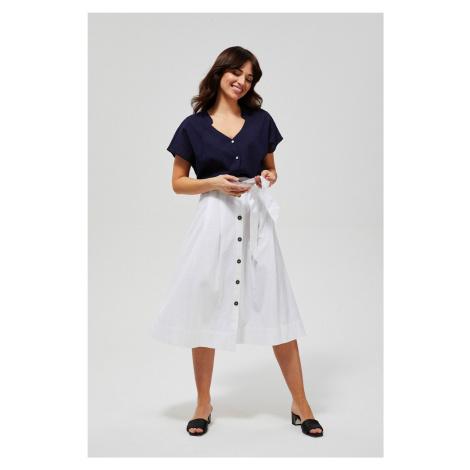 Moodo biela midi sukňa s viazaním