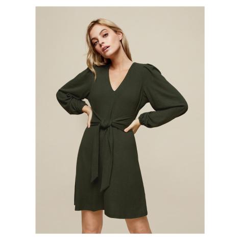 Zelené šaty se zaväzováním Dorothy Perkins Petite