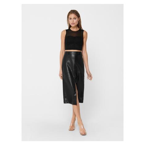 Čierna koženková sukne ONLY Ruma