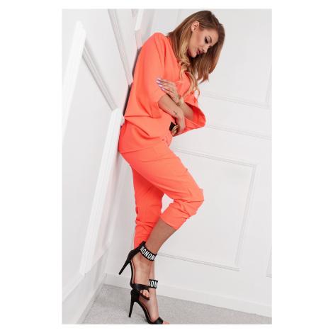 Oranžové trojštvrťové elegantné nohavice