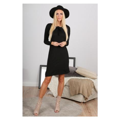 Trendy, asymetrické čierne šaty s dlhými rukávmi FASARDI