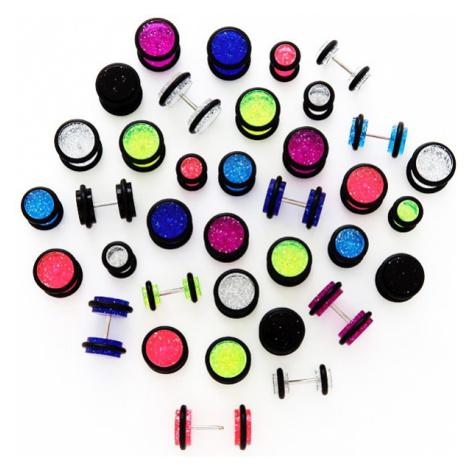 Trblietavý falošný plug s čiernymi gumičkami - Veľkosť hlavičky: 8 mm, Farba piercing: Červená