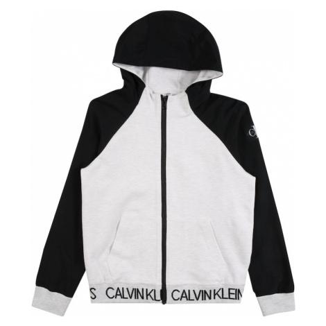 Calvin Klein Jeans Tepláková bunda  biela melírovaná / čierna
