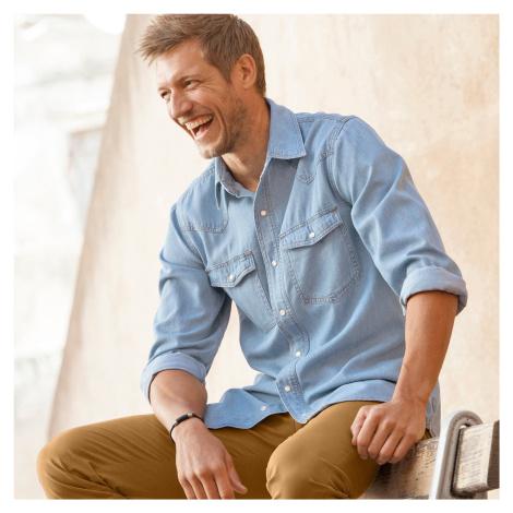 Blancheporte Džínsová košeľa zapratá modrá