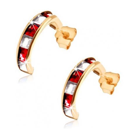 Zlaté náušnice 375 - polkruhy so syntetickými červenými rubínmi a čírymi zirkónmi