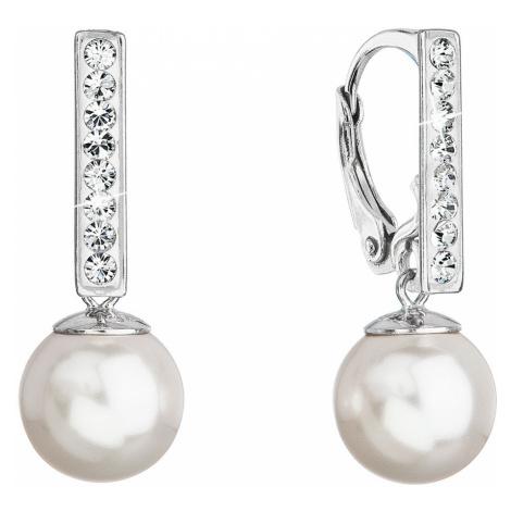 Strieborné visiace náušnice so Swarovski perlou a kryštály 71121.1 bielej