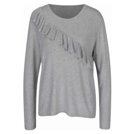 Svetlosivý žíhaný sveter s volánom ONLY Mila