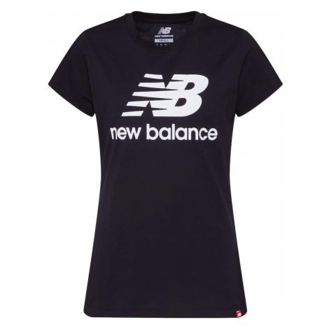 new balance Tričko 'Essentials Stacked Logo'  čierna / biela