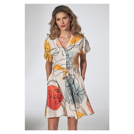 Smotanové vzorované šaty M739 Figl