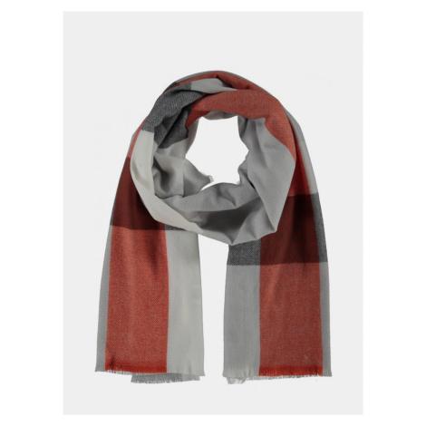 Červeno-šedý kockovaný šál Hailys Haily´s