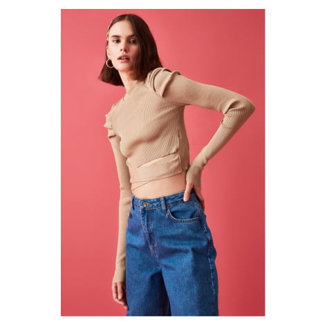 Trendyol Camel Arm Smuze Waist Detailed Knitwear Sweater