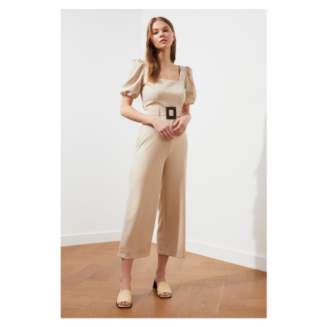 Trendyol Stone Arched Balloon Sleeves Jumpsuit