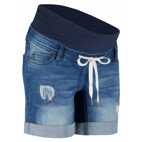 Tehotenské džínsové šortky so šnúrkou bonprix