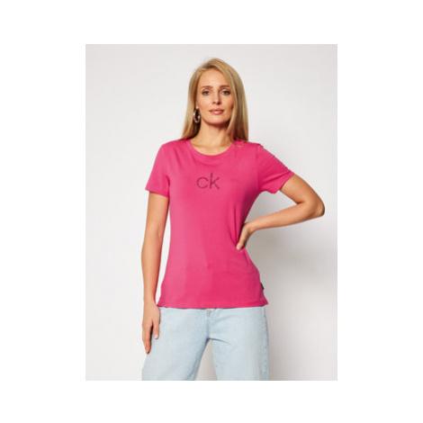 Calvin Klein Tričko Ss Ck Lurex Logo Tee K20K202363 Ružová Slim Fit