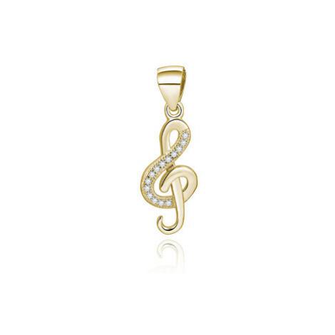 Beneto Pozlátený prívesok so zirkónmi Husľový kľúč AGH591-GOLD