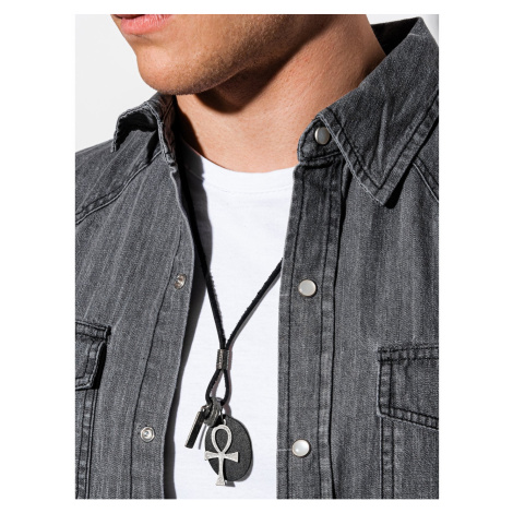 Ombre Clothing Men's necklace on the leather strap A359