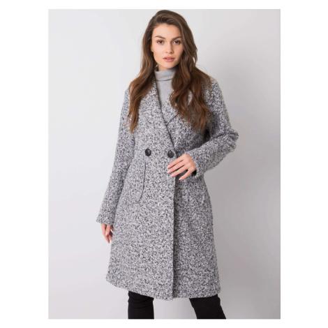Women´s black and gray bouclé coat