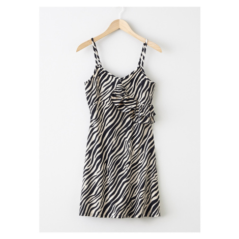 Úpletové šaty s volánom bonprix