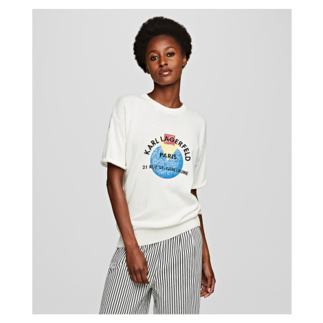 Sveter Karl Lagerfeld Short Sleeve Sequins Logo Knit