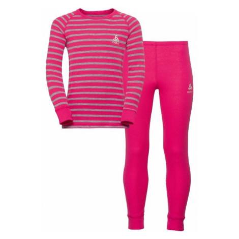 Odlo WARM KIDS SHIRT L/S + PANTS ružová - Detský funkčný set