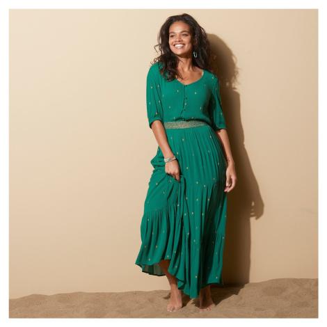 Blancheporte Dlhá sukňa so zlatou potlačou zelená/zlatá