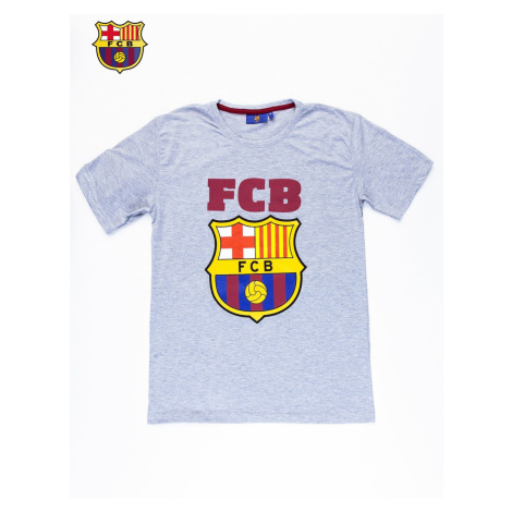 Gray men´s t-shirt with the FC BARCELONA motif
