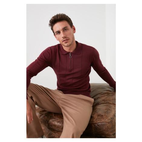 Trendyol Burgundy Men Zipper Polo Collar Knitwear Sweater