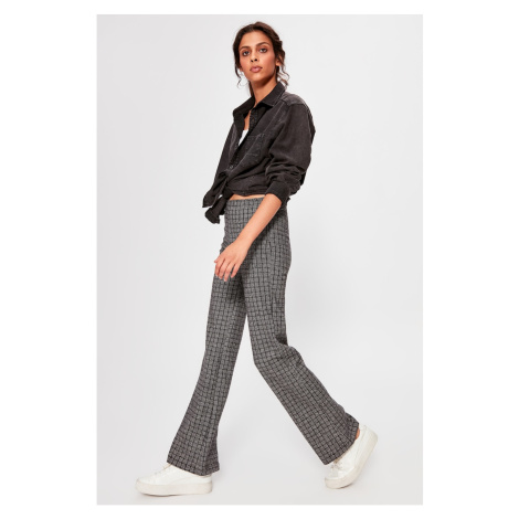 Trendyol Black Checkered Knitted Trousers