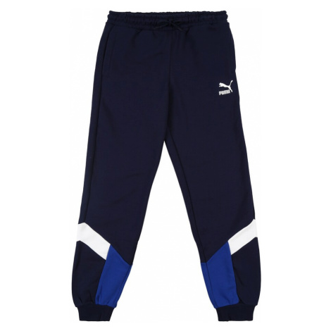 PUMA Športové nohavice  biela / modrá / námornícka modrá