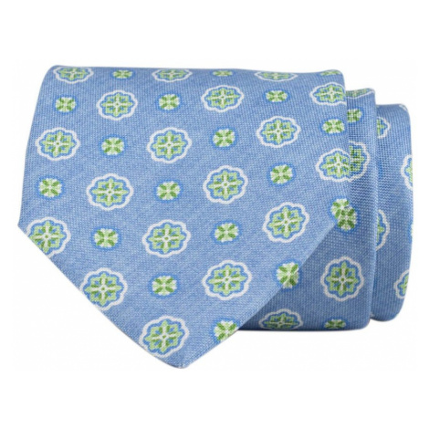 John & Paul Svetlo modrá hodvábna kravata so zelenými kvetmi John & Paul