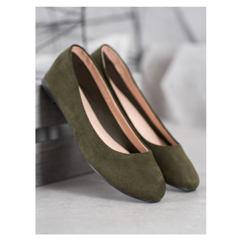 BEST SHOES SUEDE BALERINS shades of green