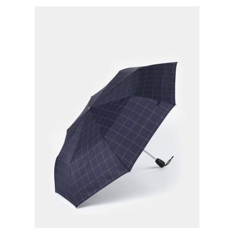 Tmavomodrý kockovaný vystreľovací dáždnik Esprit