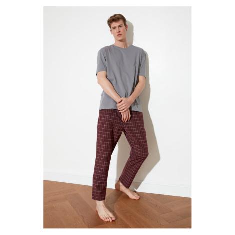 Trendyol Burgundy Plaid Woven Pajama Set