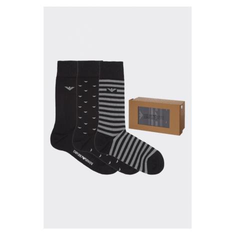 Emporio Armani Underwear Emporio Armani darčekové 3- balenie pánske ponožky - čierna, sivá Veľko